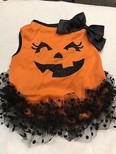 Pet Clothes Dog Halloween Dress Size Medium Black Orange Black Dots Tutu