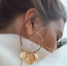 Earrings Sequins Round Big Circle Earrings Fashion Woman Metal Gold Simple Stud