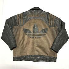 Vintage Adidas Leather Jacket Large Trefoil Three Stripes Run Dmc Bomber 80s