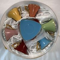 GNA Fine Porcelain Demitasse Espresso Coffee Tea Cup Saucer Gold Set of 6 W/Box