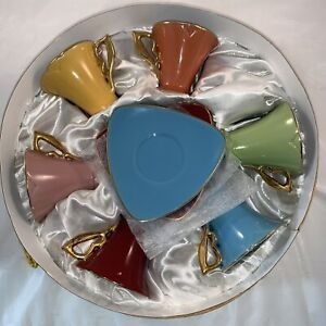 GNA Fine Porcelain Demitasse Espresso Coffee Tea Cup Saucer Gold Set of 6 W/Box