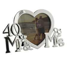NEW 40th Ruby Wedding Anniversary Silver Plated Photo Frame Gift Present Idea