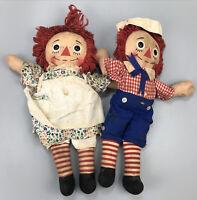 VTG Set of 2 Raggedy Ann & Andy Knickerbocker Cloth Stuffed Dolls 1970's #3 AA