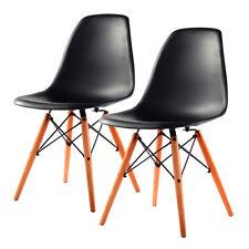 Set of 2 Mid Century Modern DSW Dining Side Chair Wood Legs Black New COSTWAY