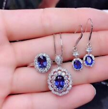 Certified Natural Sapphire 925 Sterling Silver White Pendant Earrings Ring Set
