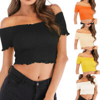 Summer Women Casual Off Shoulder Blouse Short Sleeve Ruched Short Top Ruffle Tee