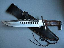 Couteau de chasse HERBERTZ lame ajourée manche pacca avec étui de ceinture cuir