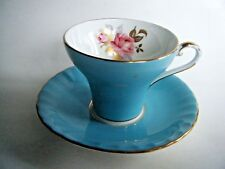 Aynsley Corset Shape Tea Cup And Saucer Blue With Pink Rose Design Gold Trim