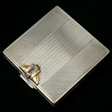 822c9e36e Art Deco Gorham Sterling Silver 14K Gold Sapphires Jeweled Compact Purse  Mirror