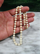 """Necklace 14K Gold Clasp 18 3/4"""" Victorian Natural Blush Angel Skin Coral Beaded"""
