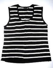 Pre-owned YUKA Women's Black and White Stripe Sleeveless Top Size 1X