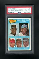 1965 TOPPS #4 NL HOME RUN LEADERS MAYS/WILLIAMS/CALLISON PSA 8 NM/MT SHARP CARD!