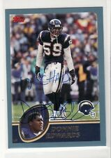 DONNIE EDWARDS SAN DIEGO CHARGERS 2003 TOPPS #37 PERSONALIZED AUTOGRAPHED CARD