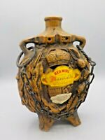 Vintage Pottery Red Wine Bottle Italy Flask Marcialla w/Chain Liquor Decanter