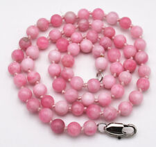 """Gems Round Beads Necklace 18"""" New 6mm Pink Snowflake Jade"""