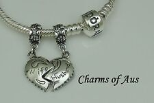 GENUINE Pandora bracelet with 2 Husband/Wife charm set. 925 Sterling Silver.