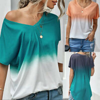 ❤️ Women's V Neck Loose T-Shirt Gradient Short Sleeve Blouse Summer Casual Tops