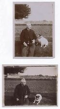 Lot 2 PHOTOS Photo ancienne Snapshot  Animal Chien Vieil Homme Dog Vers 1900