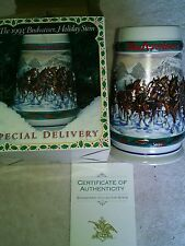 1993 Budweiser Beer Stein,Holiday Stein Collection,Clydesdales,winter Scene,nice