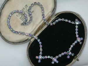 BEAUTIFUL 50'S GLAMOUR chrome RAINBOW IRIS glass rhinestone SWAG COLLAR neckalce