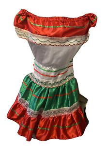 Handmade Girl's Cotton Lace Dress Sz 8 Mexican Embroidered Green/white/red S168