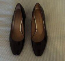 Zara Burgandy Patent Block Heels Square Toe Shoes Size 38 UK 5