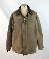 Vtg 90s CARHARTT Distressed Brown Canvas Quilt Lined Work Chore Jacket Coat XL