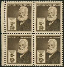 1940 10c US Postage Stamps Scott 893 Alexander Graham Bell Block of 4