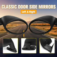 Pair Universal Classic Car Door Side View Mirror & Matte Black Gaskets Vintage