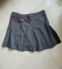 100% Authentic Miss Sixty Gray with Pink Wool Pleated Skirt Size Large