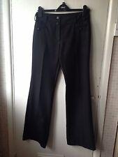 F + F Long Length Black Pinstripe Formal Straight Leg Trousers Size 8