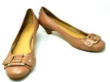 Nine West Hoagie Beige Tan Nude Leather Buckle Kitten Heel Pump Shoes Size 8.5 M