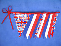 DOUBLE SIDED UNION JACK FLAG FABRIC BUNTING shabby vintage chic RED WHITE BLUE