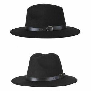 Women Gentlemen Wool Felt Trilby Fedora Jazz Wide Brim Hat Large Cap Gangster