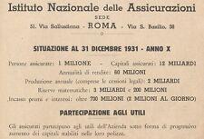 Z1230 Istituto Nazionale delle Assicurazioni - Pubblicità d'epoca - 1932 Old ad