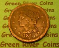 1843  U S Braided Hair Large  Cent   # 43S       (1839-1857)