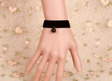 Gothic Victorian Simple Black Velvet Ribbon Bracelet Costume Steampunk LB005