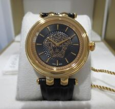 Versace Women's VQE180016 KHAI Gold IP Swiss Made Black Leather Band Watch