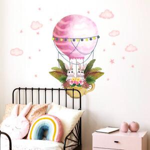 Cartoon Rabbit Hot Air Balloon Wall Decal Nursery Baby Room Decor Art Sticker