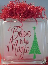"Believe in the Magic Christmas Decal Sticker for 8"" Glass Block DIY Crafts"