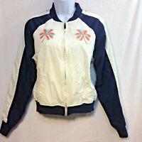 Vtg Rebok Womens Juniors Jacket sz S White Bomber Full Zip Palm Tree Embroidery