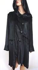 $2660 ANN DEMEULEMEESTER Black VELVET Hooded Coat 38
