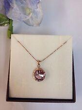 collana e ciondolo argento 925 anallergico rose' donna punto luce rotondo viola