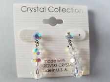 """Crystal Collection Drop Dangle Earrings Made With Swarovski Crystals Round 1.25"""""""