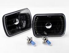 "7x6"" Halogen H4 Black Glass LED DRL Headlight Conversion w/ Bulbs Pair Plym"