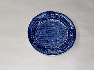 Historical Staffordshire Erie Canal Inscription Toddy Plate Ca. 1825 Rare Size