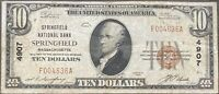 USA 10 Dollar 1929 National Currency $10 Springfield Selten Banknote #22092