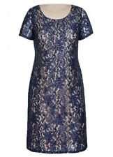 Chambray Blue LACE layer overlay dinner party short sleeve SHIFT dress  18 NEW