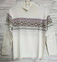 QVC Jumper Size 12-UK White Fair Isle/Nordic Cotton Blend DENIM & CO Brand New