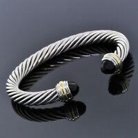 David Yurman 925 Sterling Silver 14K Gold Black Onyx 7mm Cable Classic Bracelet